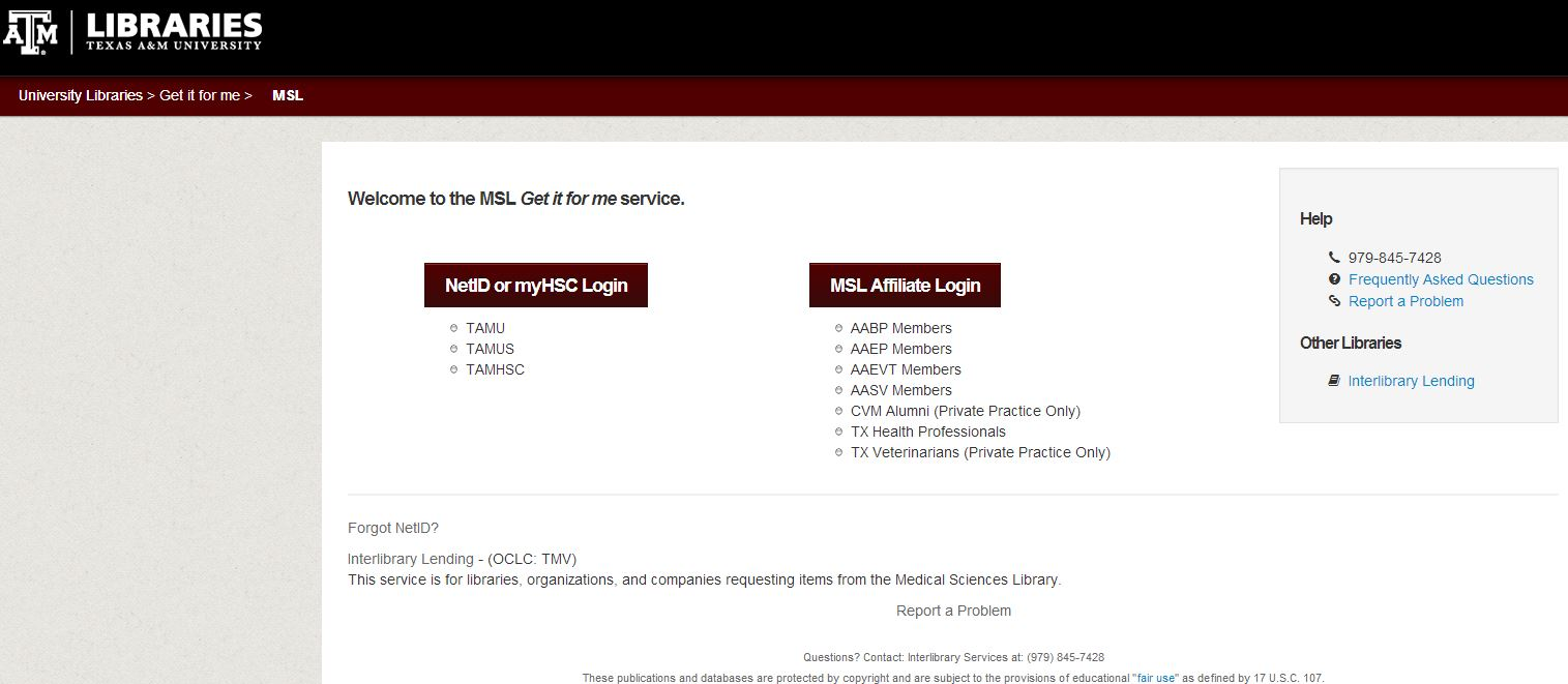 Image of MSL's Get It For Me welcome page