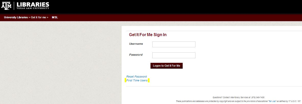 Image of MSL Get It For Me Sign In page