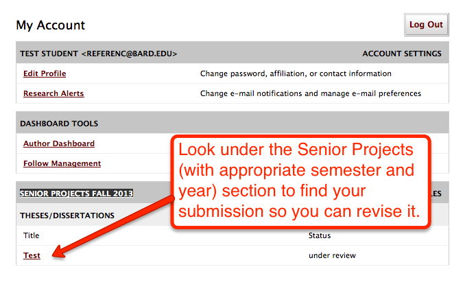 Revising Your Online Senior Project Submission item