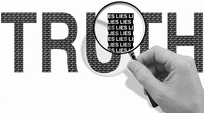 magnifying glass hovering over the word truth
