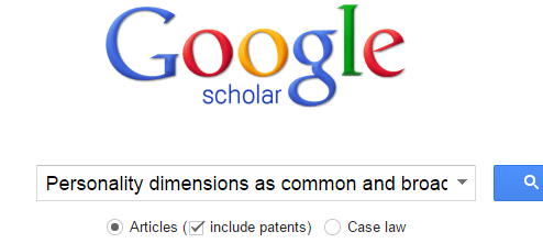 Google Scholar home page with sample article title entered