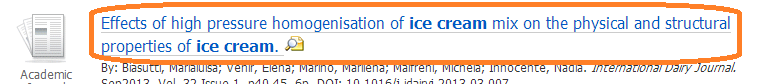 title of article in Ebsco database