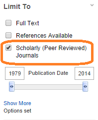 """""""scholarly journals"""" selected in list of qualifiers"""