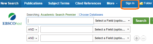 An Ebsco database search box with Sign In link circled at top of page