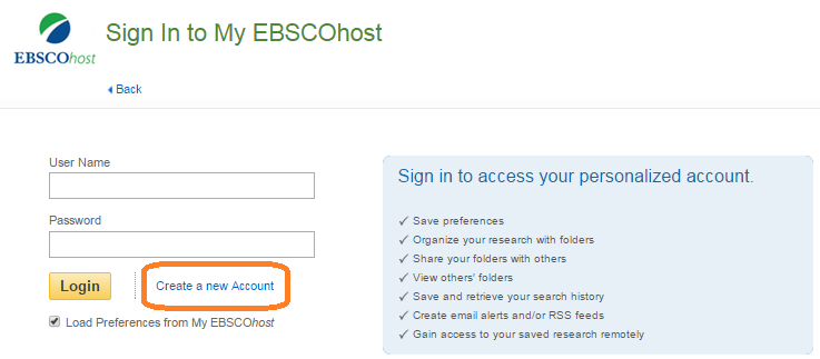 My Ebscohost sign in page with option to sign in or Create a new account