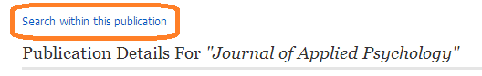 """journal record in database with option of """"search within this publication"""" circled"""