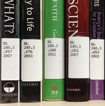 several books showing Library of Congress call numbers on spines