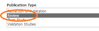 screenshot of Publication Type limiter in Medline with the term Review circled