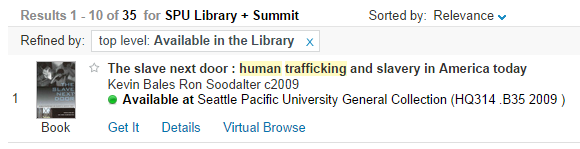 """refine search by """"Available in Library"""""""
