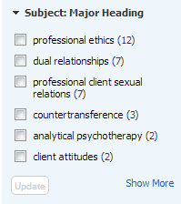 PsycINFO limiter option of Subject: Major Heading