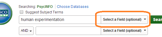 PsycINFO search box with human experimentation entered and Select-a-field drop-down option circled