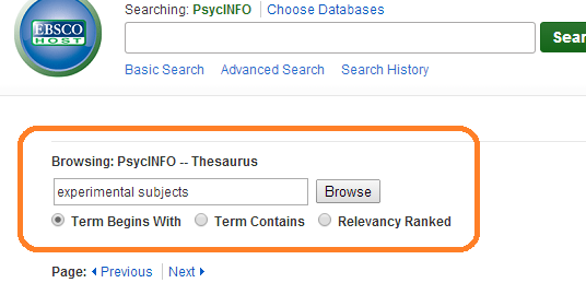PsycINFO Thesaurus search, with example of experimental subjects entered