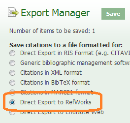 Ebsco citation reference Export Manager, showing Direct Export to RefWorks circled