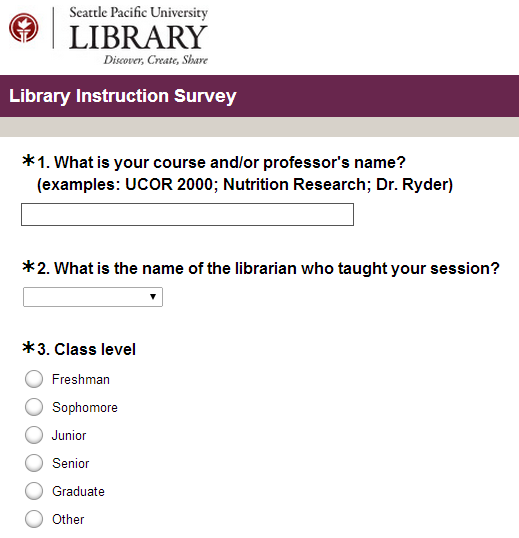 Library Instruction Survey