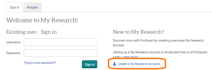 ProQuest sign in page with Create a My Research account circled