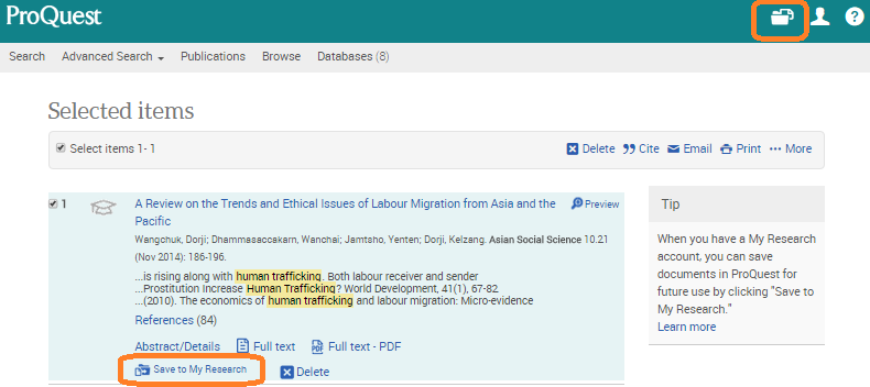 ProQuest example search result with Save to My Research link circled