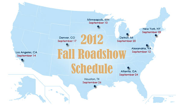 USPTO Fall Roadshow Map