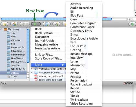 """Screenshot of Zotero interface with """"New Item"""" button selected."""