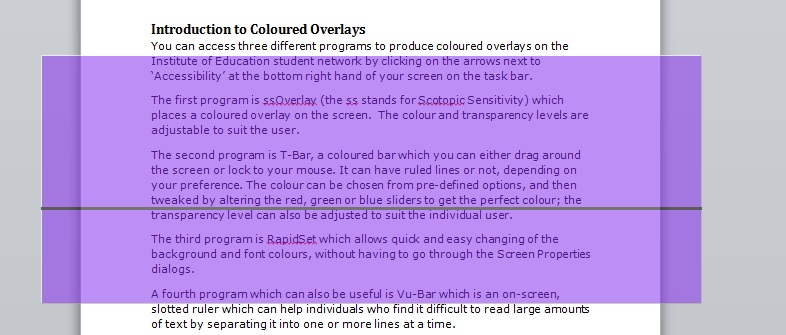 Screen shot showing coloured T-Bar with black guideline for reading