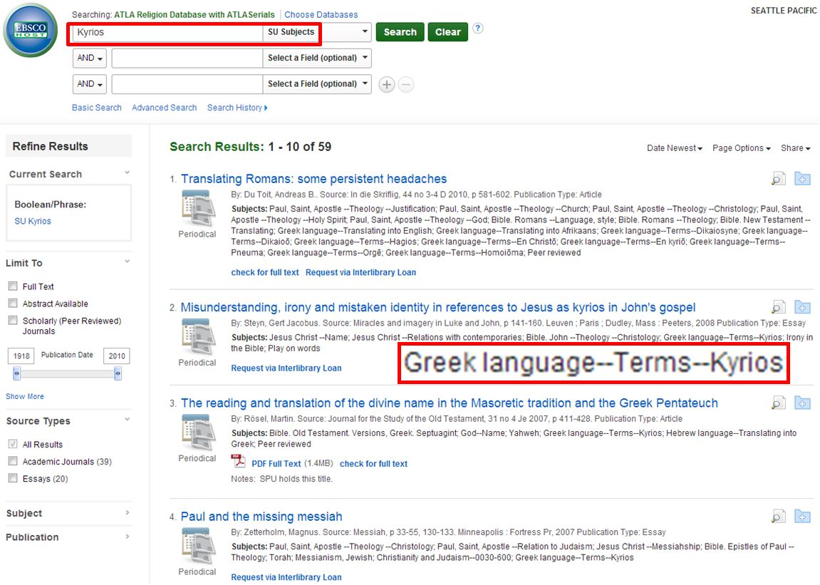 Subject Terms in Greek or Hebrew