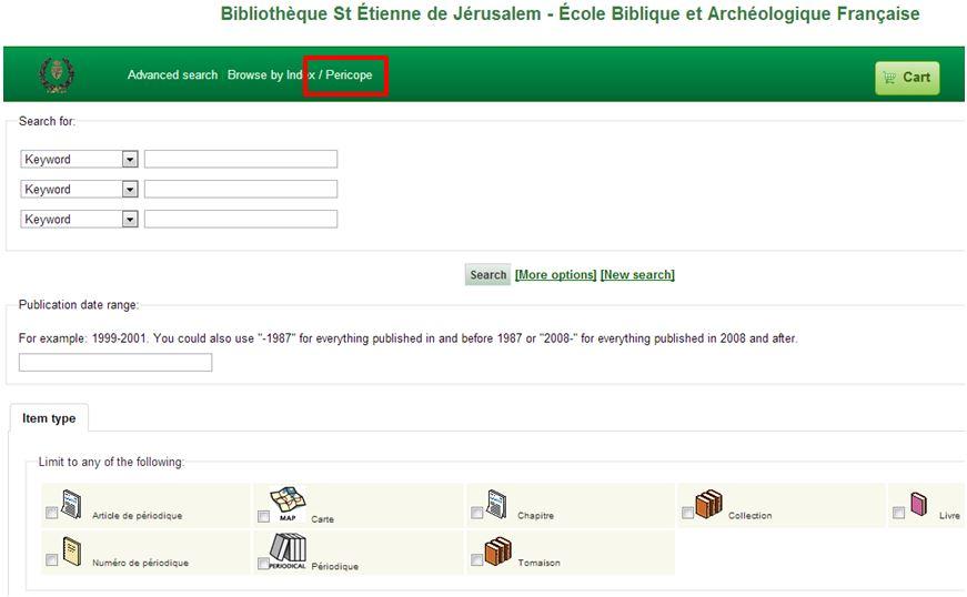 The catalogue of the École Biblique