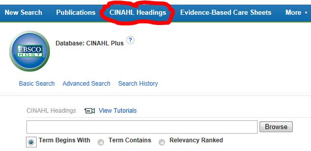 Using CINAHL Subject Headings