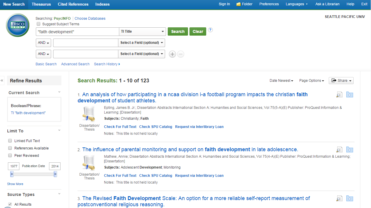 Searching EBSCO Databases
