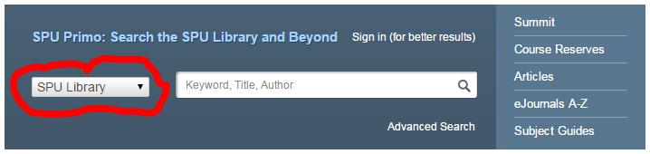 Search SPU Library Catalog
