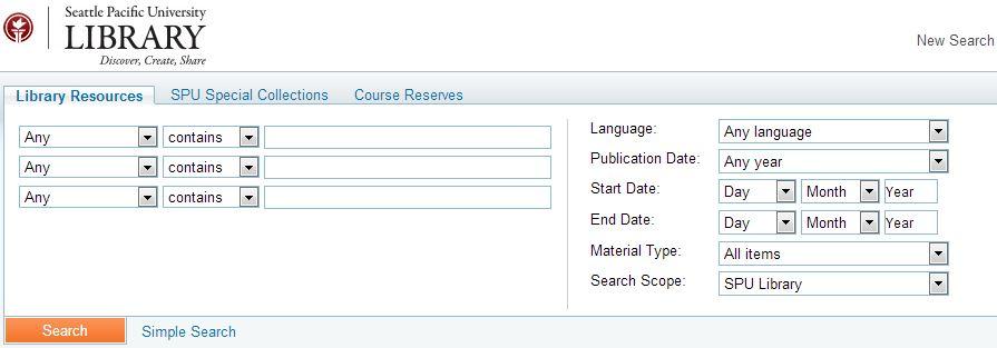 SPU Library Advanced Search