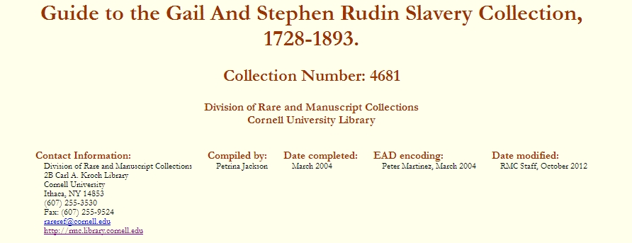Guide to the Gail and Stephen Rubin Slavery Collection