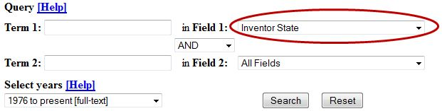 Image of selecting Inventor State from the drop-down options