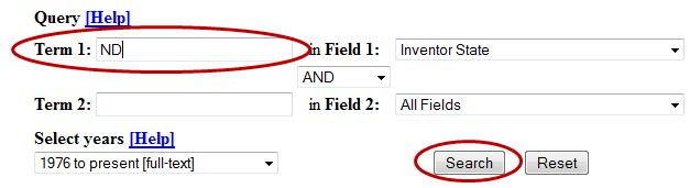 Image of entering ND for Term 1 and selecting Search button