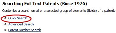 Image of selecting Quick Search from the Searching Full Text Patents options