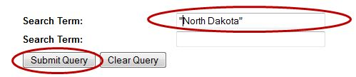 """Image of entering """"North Dakota"""" for search term and selecting Submit Query"""