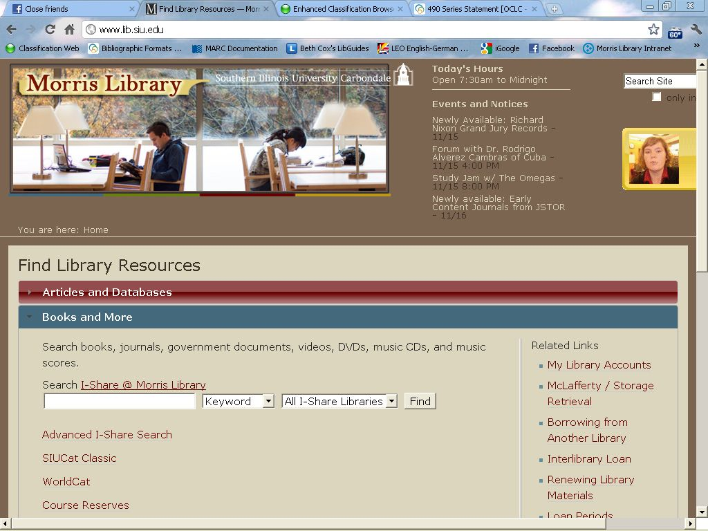 screen cap of the books and more area of the morris library homepage highlighting the link to i-share