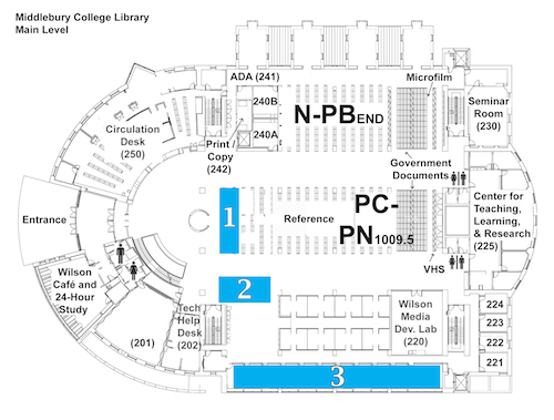 Map of the Main Level of the Library