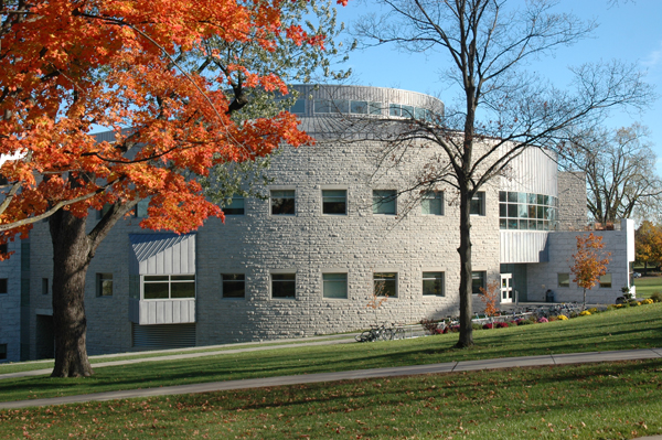 Middlebury Library in the fall