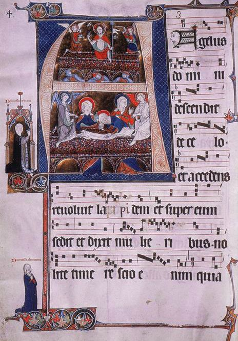 Score showing page of chant from an illuminated manuscript