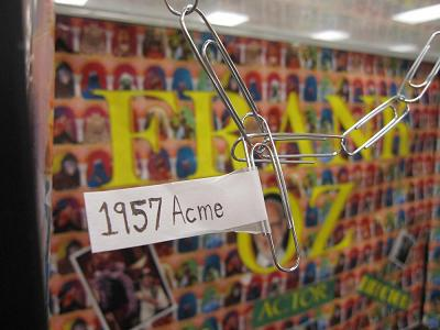 """The 1957 Acme""--one of the most prized pieces in Bert's paper clip collection"