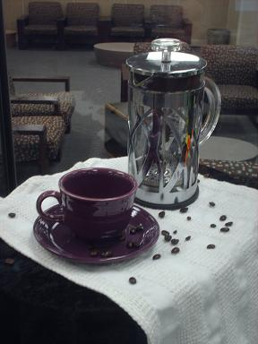 Coffee Pot and Purple Cup