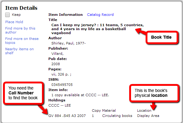 to quickly find a book, record the book title, call number, and location.