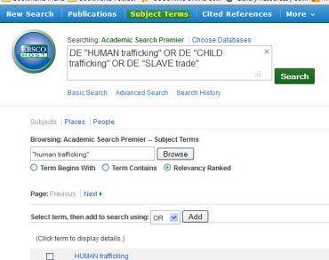 Subject Terms search