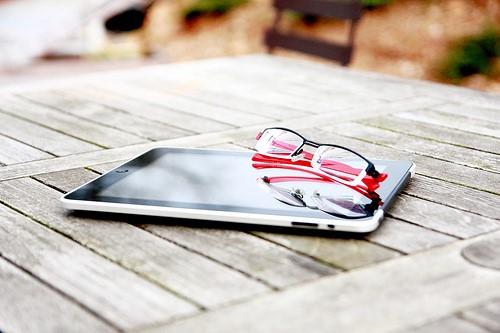 glasses on ereader
