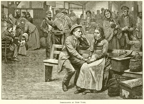 19th-century engraving of immigrants in New York