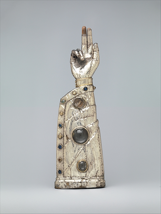 Arm Reliquary 13th century (with 15th century additions) French Silver, silver-gilt, glass and rock crystal cabochons over wood core Metropolitan Museum of Art
