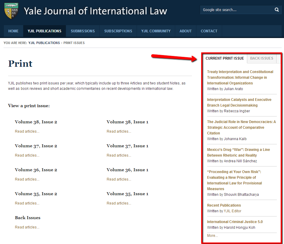 Picture of Yale Journal of International Law with print items highlighted