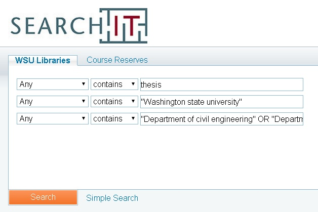 Graphic of advanced search for dissertations or thesis in Search It