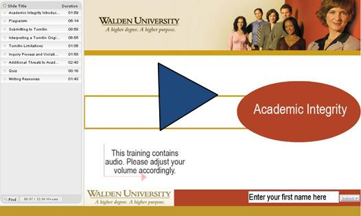 Video player image: Link to TurnItIn and Academic Integrity Online Video Tutorial