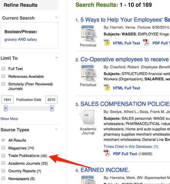 Screenshot of Business Source Complete showing search limits on the left side of search results. Under Source Types it reads All Results, Magazines, Trade Publications, Academic Journals, Country Reports, and Newspapers