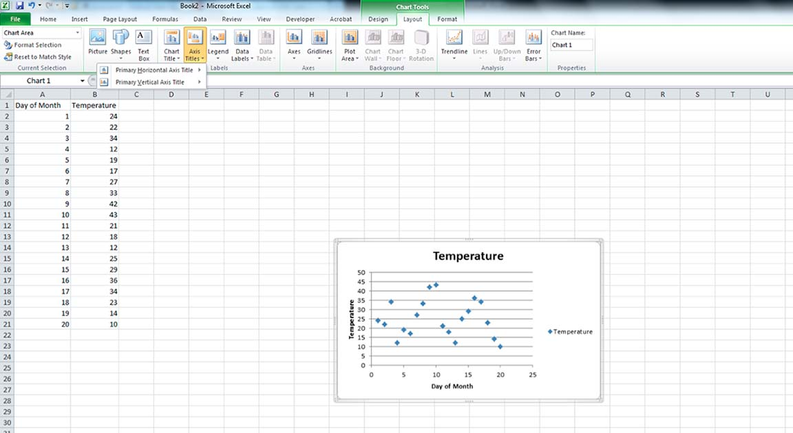 Screenshot of Axis Title Options in Excel